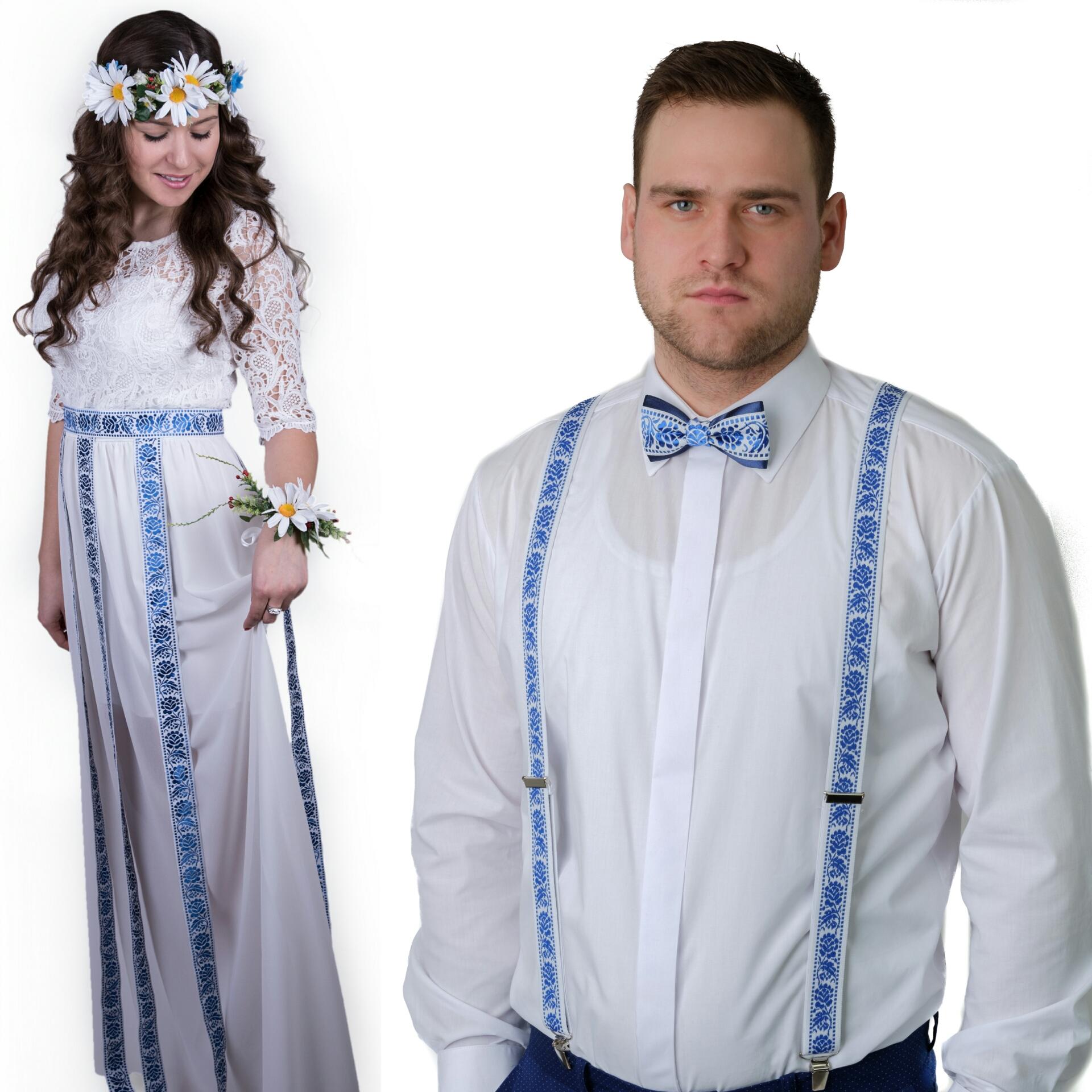 c2512dfd4025 Modrotlač svadobný luxus folk set + biele traky – babafolk.sk
